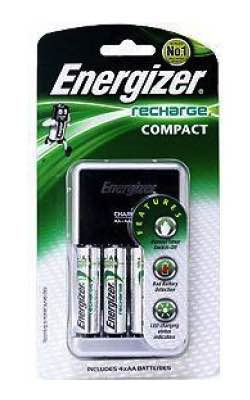 Compact Charger for AA, AAA, 9V : Includes 4x AA : Energizer