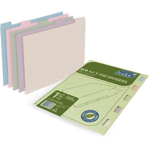 ECO Tab Dividers: 5 Pack: Assorted Colours: Tudor product image