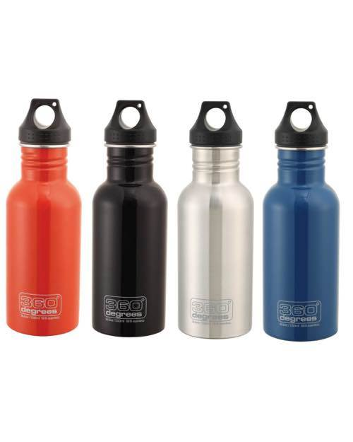 Travel Drink Bottle Medium 550ml : Stainless Steel - Available in 4 Colours : 360° Degrees - Product Image