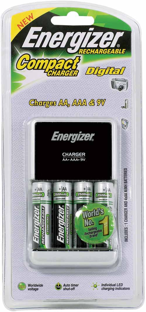 Compact Charger for AA, AAA, 9V: Includes 4x AA: Energizer